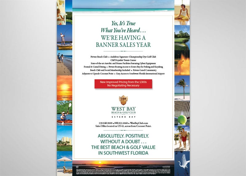 West Bay Beach & Golf Club Print Design
