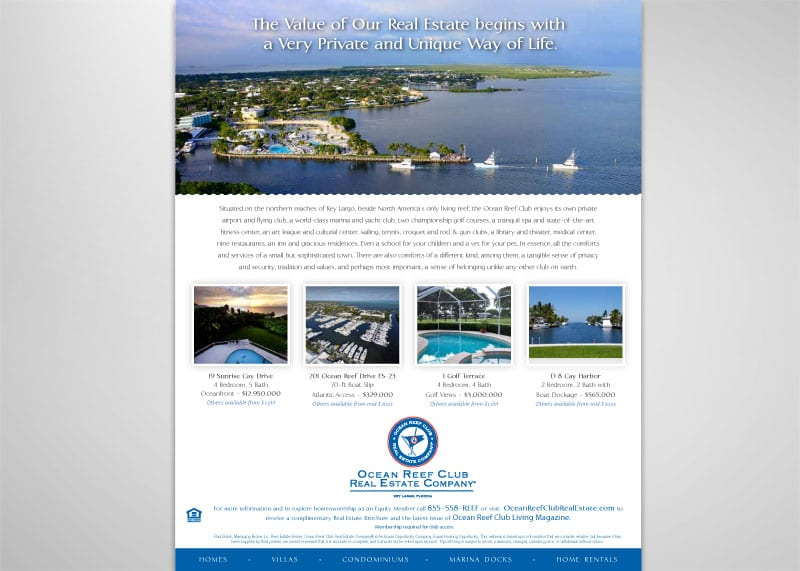 Ocean Reef Club Real Estate Company Print Design