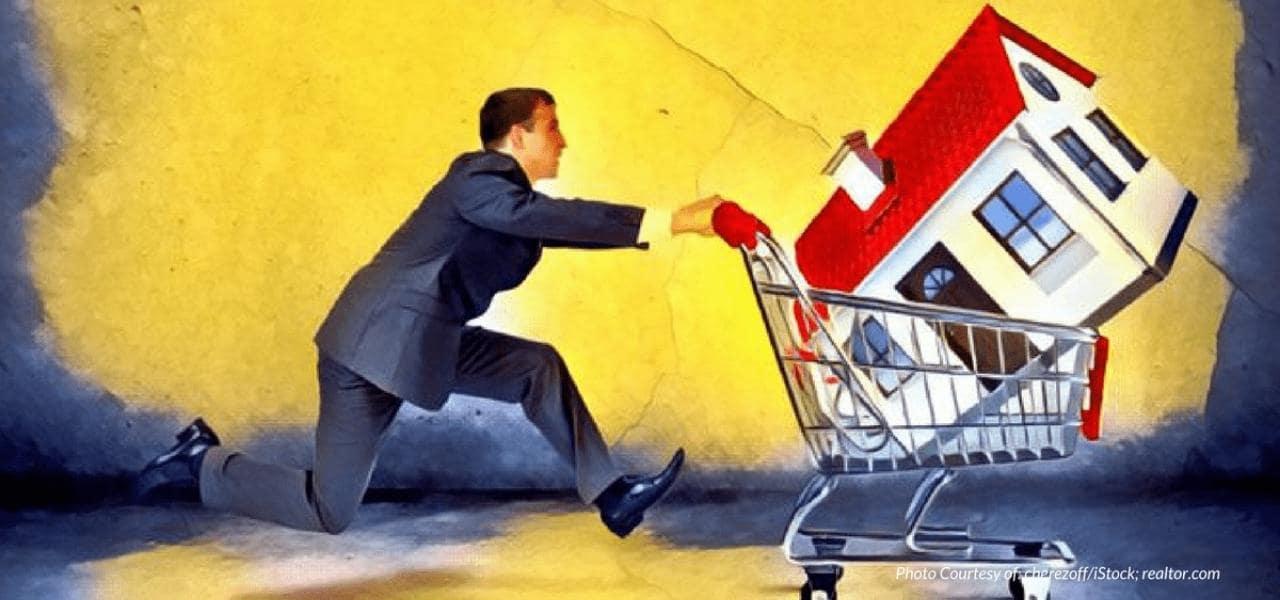Cartoon Man Pushing House in a Shopping Cart