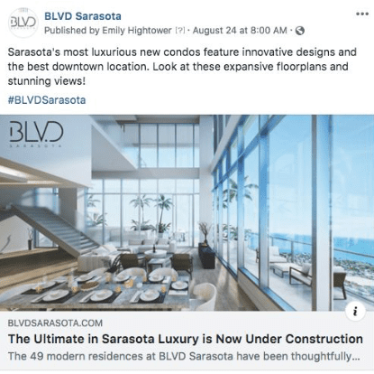 Sample Facebook Ad for BLVD Sarasota