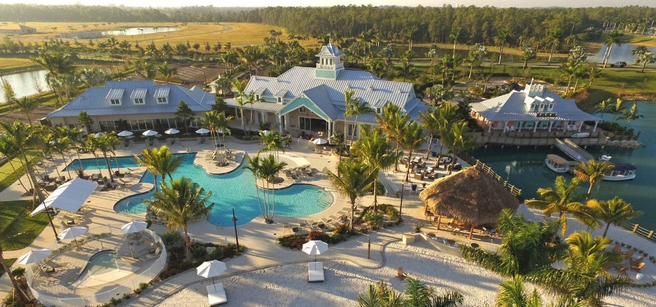 Aerial of the Island Club at Naples Reserve in Naples FL