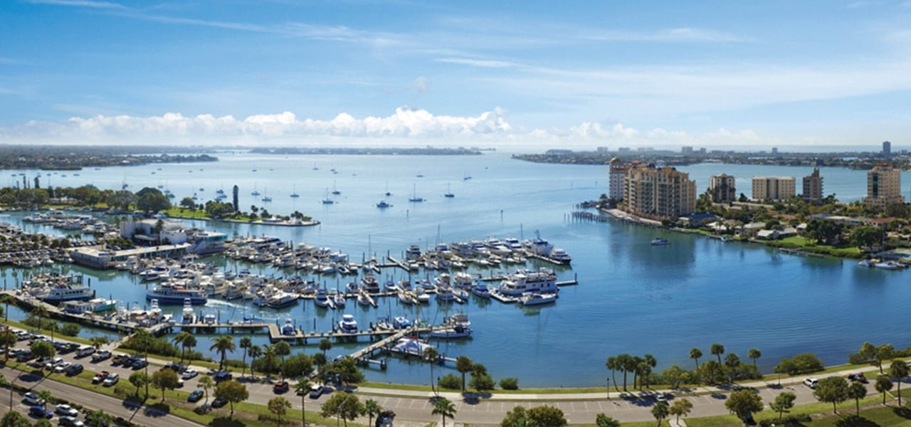 Aerial drone footage of the Sarasota Bay