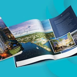 Super imposed image of the Solutions magazine on teal cotton and company logo