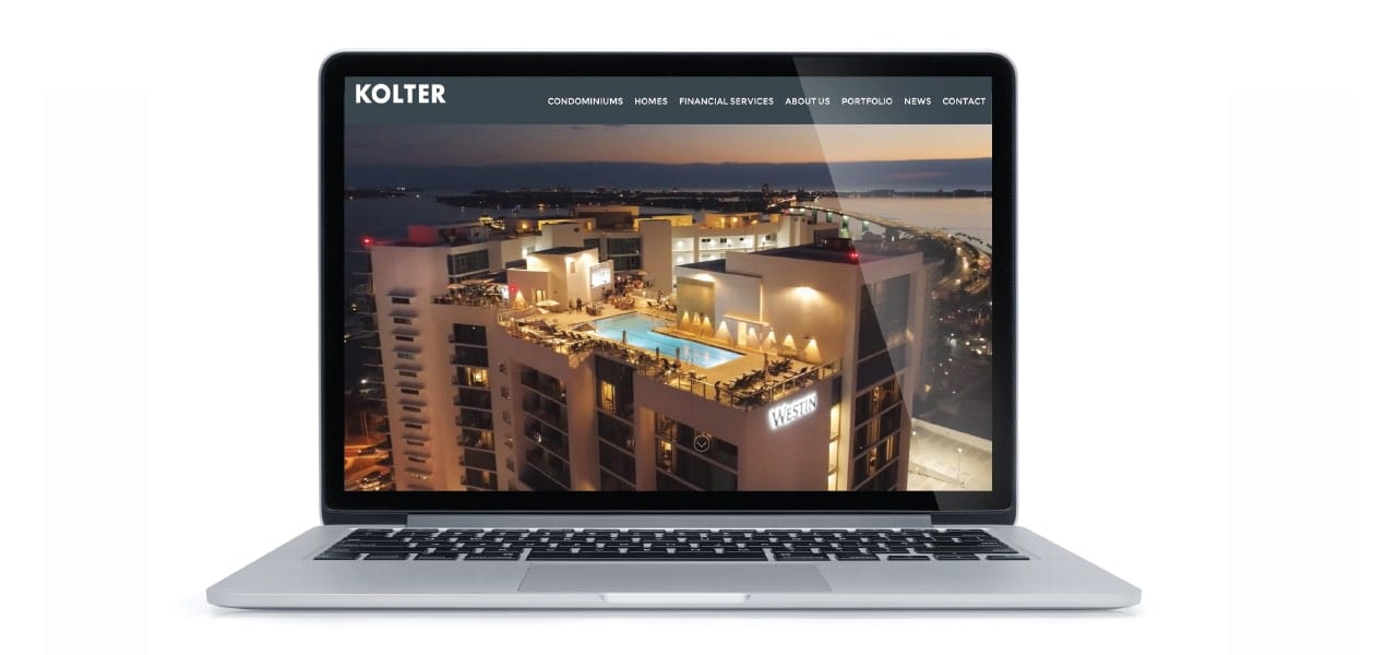 Kolters New Website Displayed on a Mac Laptop