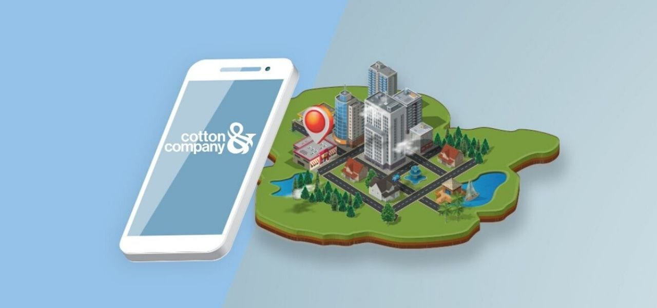 Animated smart phone with animated city behind it